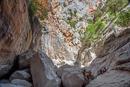 Gola su Gorroppu, Klettern in der Schlucht