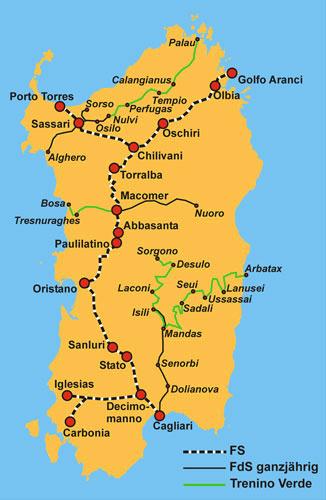 Karte Sardinien Bahn
